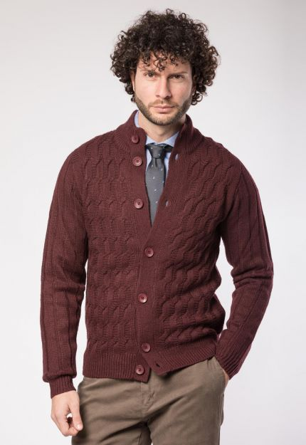 Cardigan bordeaux da uomo