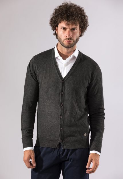 Cardigan antracite slim fit