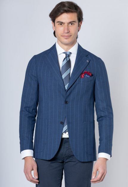 Blazer blu a righini celesti
